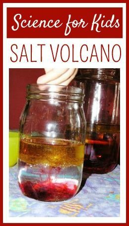 Salt volcano science project for kids is like a lava lamp.