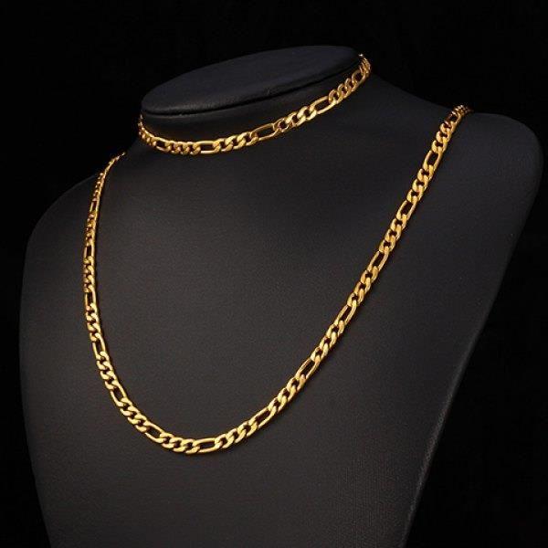En Suit av Chic Solid Color Chain Bracelet och halsband för Män