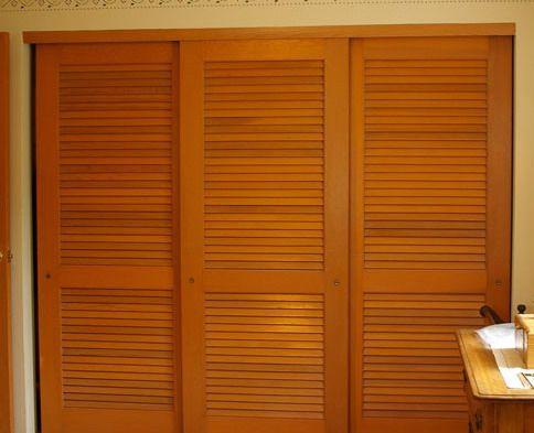 Louvered sliding closet door ideas closet ideas for Wood bypass closet doors