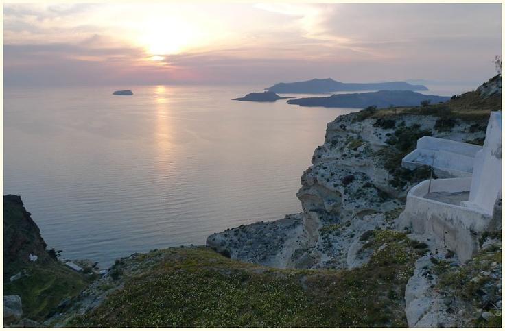 Caldera view in Megalochori village, Santorini, Greece