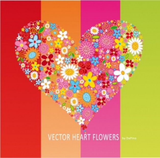 heart made of flowers above to stripes * Free Vector