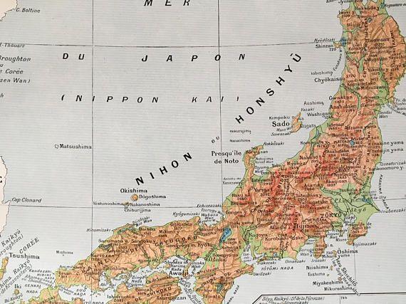 1915.JAPÓN.Mapa físico de Japón-Lámina a color.30 cm. x 24 cm.