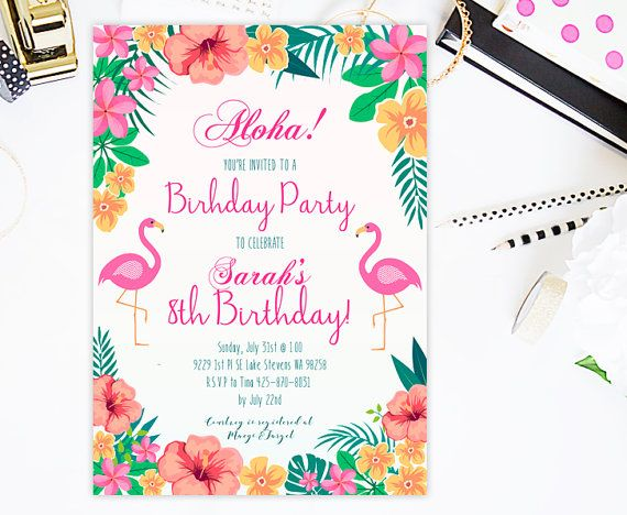 Tropical Birthday Invitation  Island Flowers by CutePaperStudio