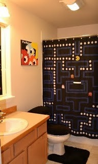 Link's pacman bathroom with handpainted shower curtain and decor. hollydey