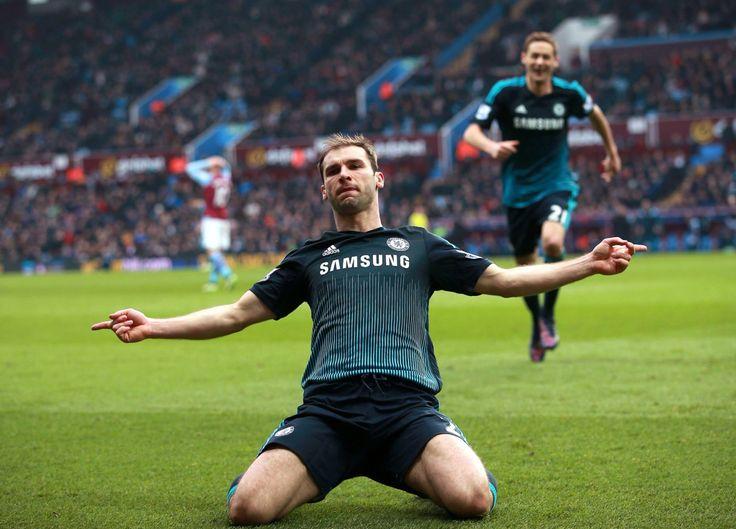 Ivanovic celebrating his winner against Aston Villa. 02/07/2015. Chelsea FC
