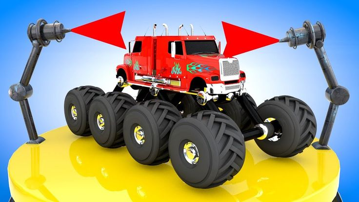 Colors for Children to Learn with Dual Monster Trucks Color Changer Vehi...
