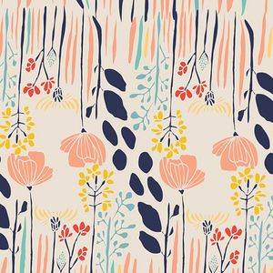 Leah Duncan - Meadow - Summer Grove in Day Love these colours together: navy, apricot, coral, mustard, aqua....