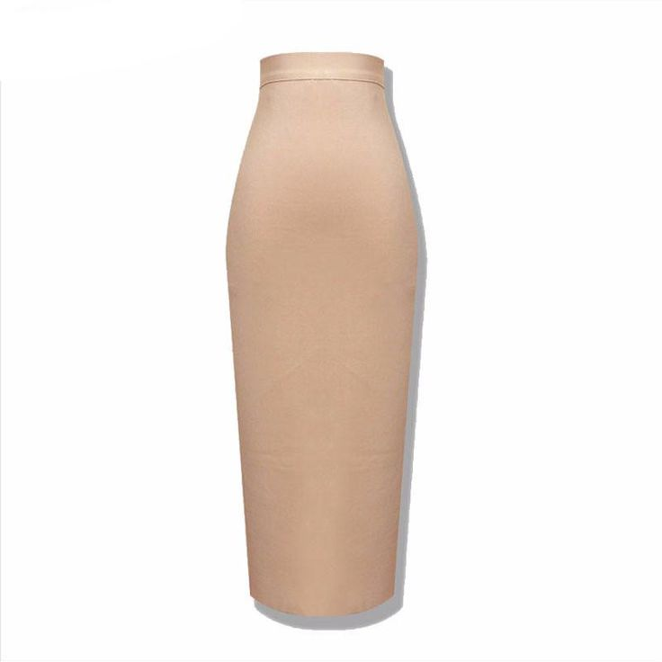 Spring bandage pencil skirts women's High Waist solid nude Skirts.
