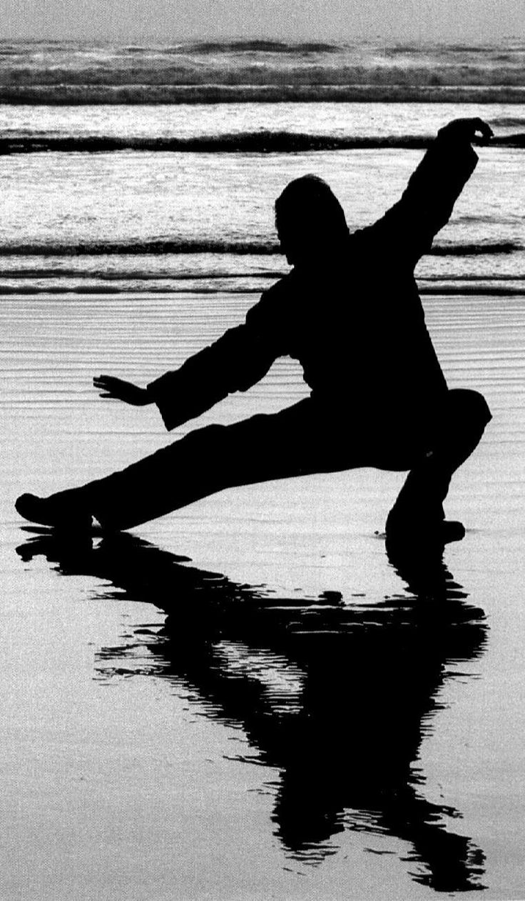 Study Tai Chi.  How cool would it be to watch the sun rise while exercising on the beach?  Love this pic with the silhouette and reflection.