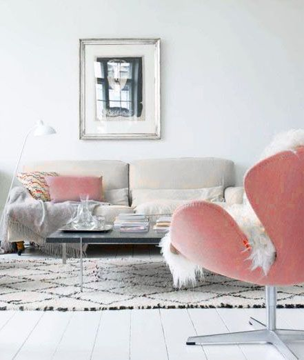 ♡ Home Pink Home ♡  mod neutral and pink living room