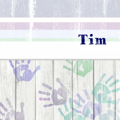 Leuk kaartje met hout en handafdrukken - Geboortekaartjes - Kaartje2go