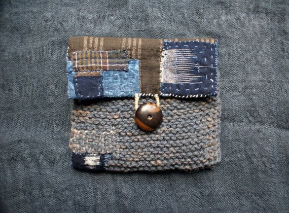 treasury / pouch/purse/wallet in vintage japanese cotton and pure wool;  hand sewn and hand knitted