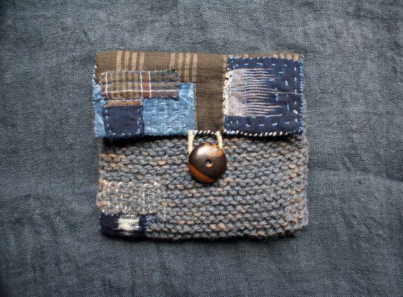 tesorería / bolsa / bolso / cartera en algodón japonés vintage y lana pura;  cosidas a mano y tejido a mano