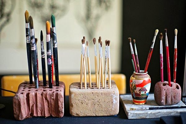 Drill holes for brush organizing.. Could use so many things!!