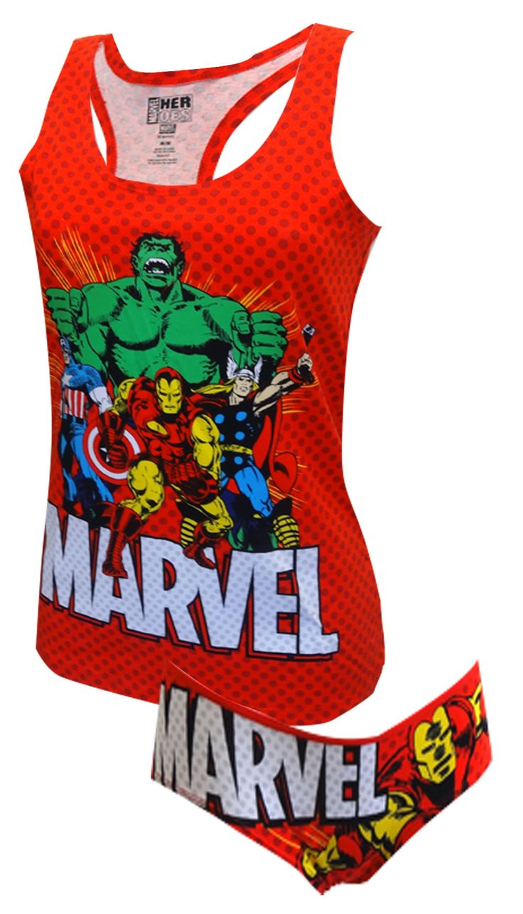 Marvel Comics Avengers Racer Back Tank & Panty Set Unleash your inner superhero, ladies! These 95% cotton/ 5% spandex tank and ...