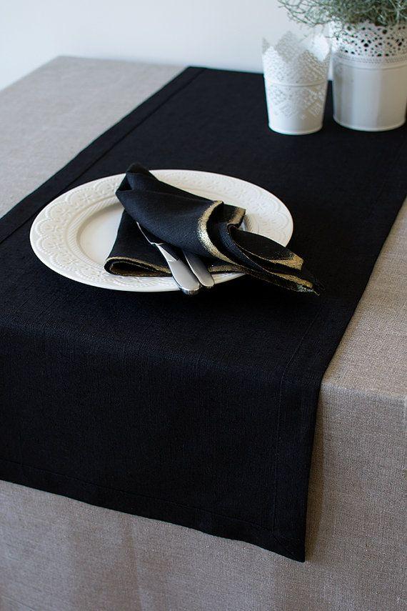 Tovaglioli neri 4 tovaglioli di panno di lino nero con tovaglioli oro metallico Decor Pasqua tovaglioli matrimoni tovaglioli 45x45cm / 18 x 18