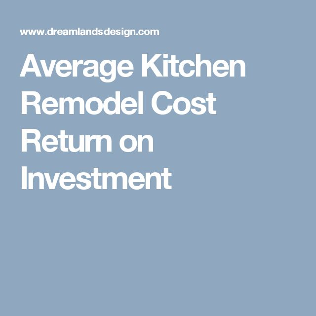 Average Kitchen Remodel Cost Return On Investment