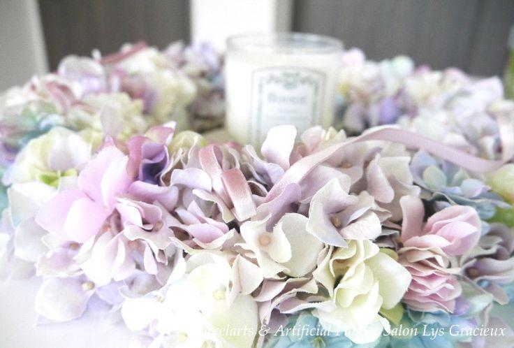 紫陽花リース♪ の画像 札幌・円山 Lys Gracieux(リスグラシュ)ポーセラーツ・クレイ・フラワー