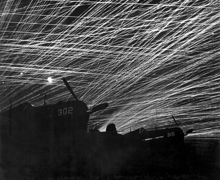 Ryukyu Islands Okinawa, Japan Yontan airfield AA against Japanese night raiders during