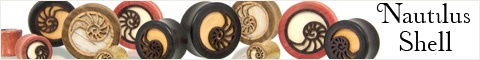 Omerica Organic, wooden plugs, nautilus shell. First time buyers get a 20% discount with this code: OMERICAN