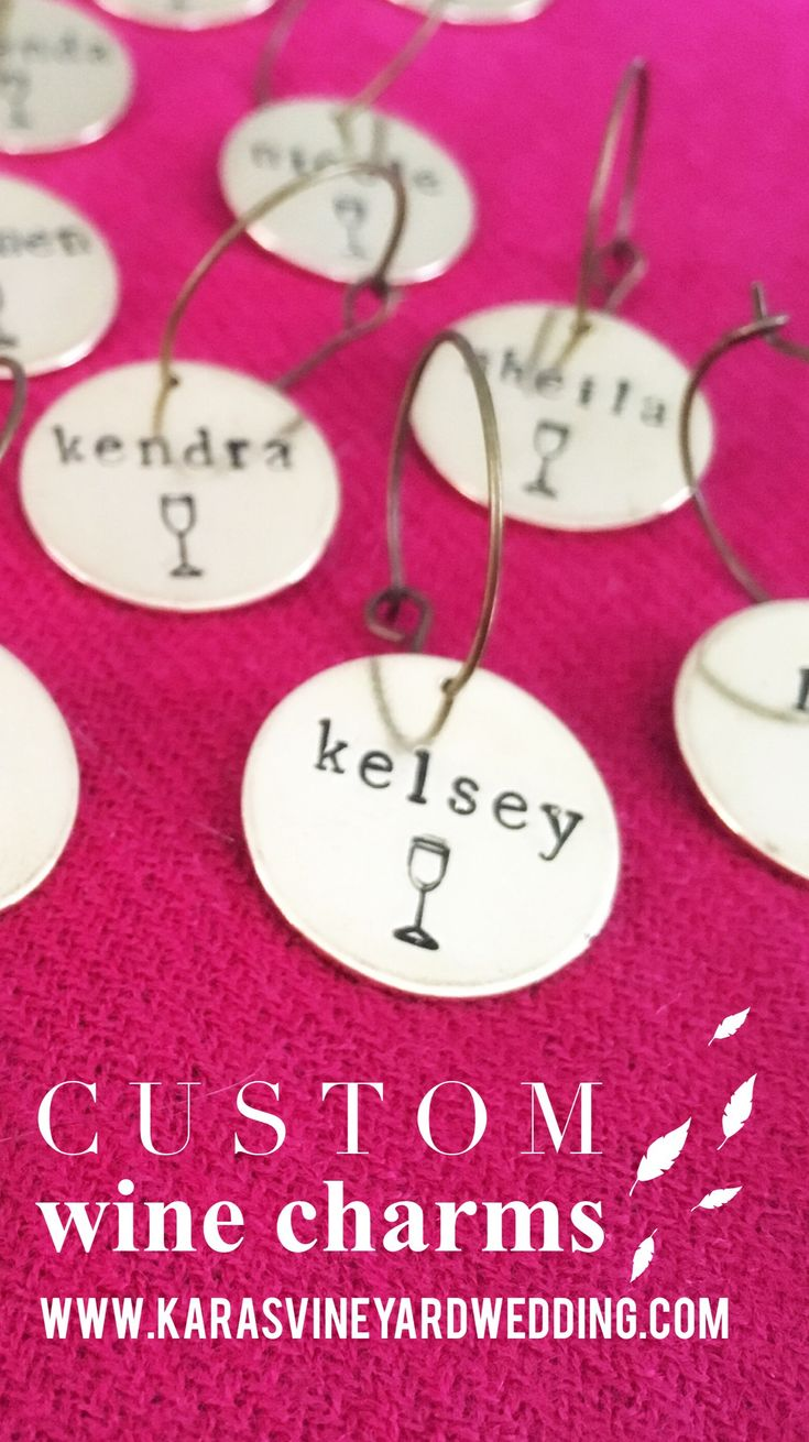 Personalized Wine Glass Charms, perfect for your wine tasting bridal shower or wine theme wedding reception!  Never lose your wine again!  Wine Tasting | Bridal Shower ideas | Vineyard wedding | Shop more gifts at www.karasvineyardweddingshop.com