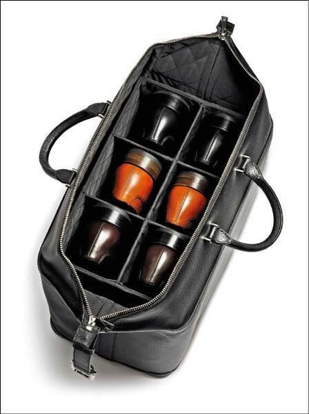 Really neat and carries 3 pairs for that weekend get away or the 2 night business trip. Most shoe bags for men are designed for golf, apparently this looks a bit DIY. Mini duffle bag stacked in with a cut out shoe rack.   http://www.clava.com/golf-shoe-bag.html