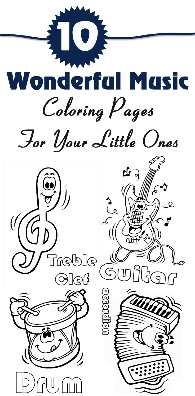 Coloring pictures drums - 10 Wonderful Music Coloring Pages For Your Little Ones