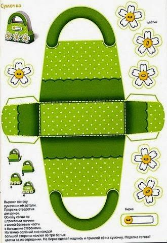 Green and Flowers: Free Printable Paper Purse or Paper Bag.