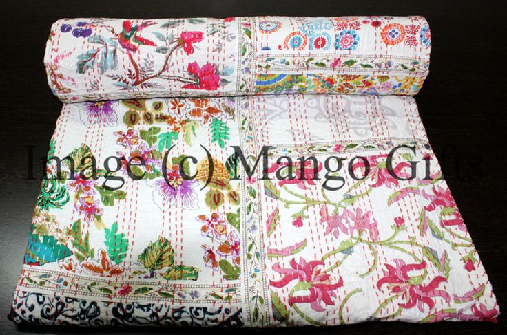 Patchwork Kantha Bedspread 100%Cotton Handmade Bed cover Throw Queen Multi-Color #Handmade