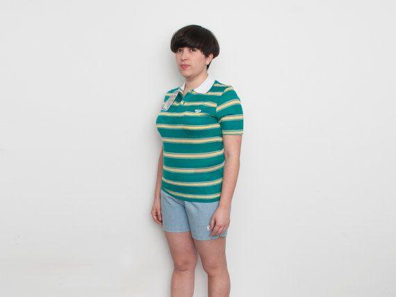 Muerto stock vintage verde camisa de polo rayada por blessthatdress