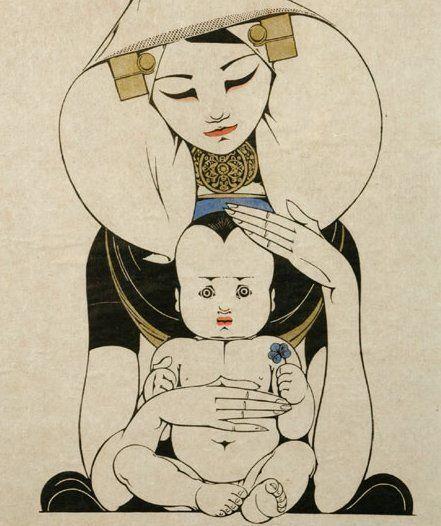 J. Heyse (1882-1954)  -  Zuidbevelandse Madonna  -  Kleurenhoutsnede  -  41 x 35 cm  -  Gesigneerd  -  Verkocht