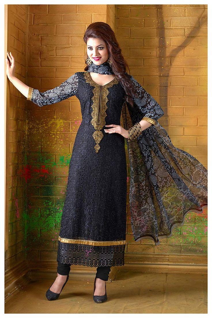 Urvashi Rautela Black Georgette Churidar Suit 69886