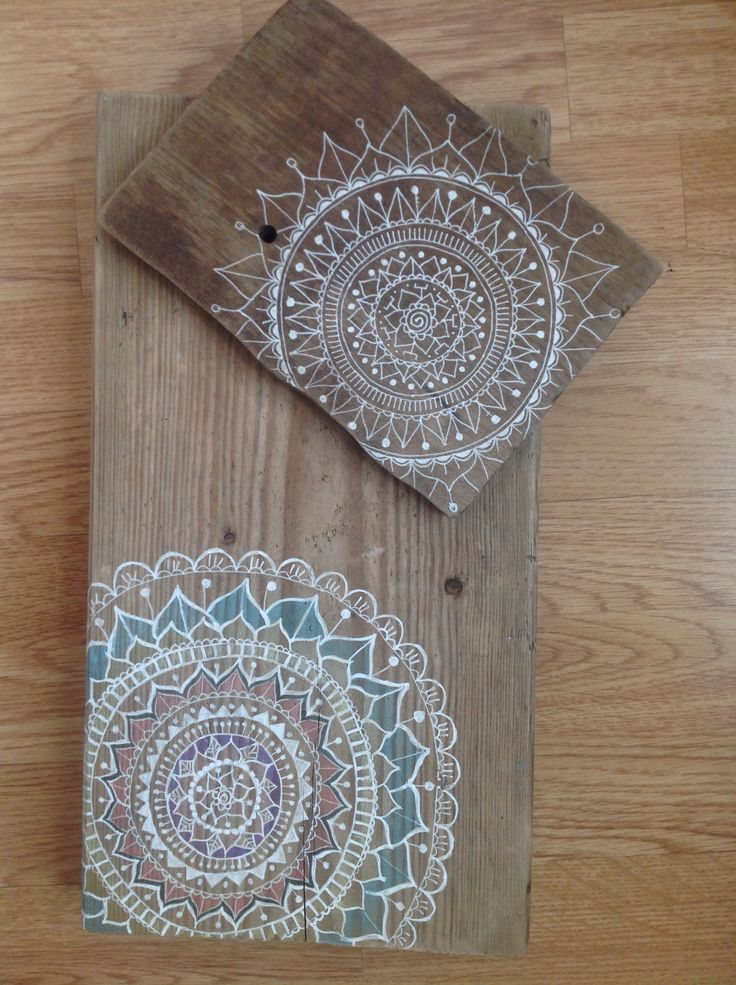Mandalas. White ink on driftwood