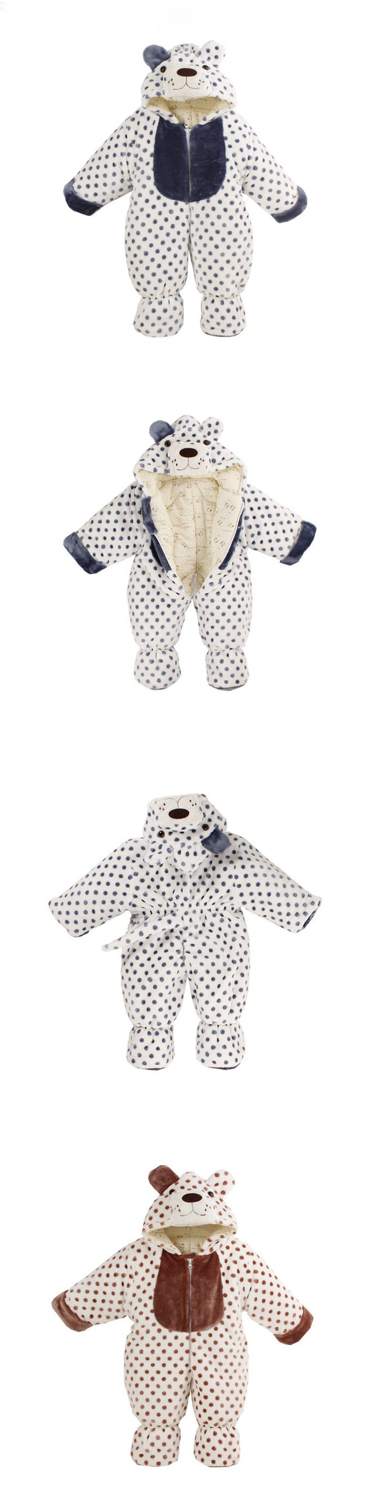 Body with Long Sleeves Animal Tiger Bear Fleece Baby Romper Warm Overalls for Baby Newborn Winter Clothes Infant Clothing CL0431