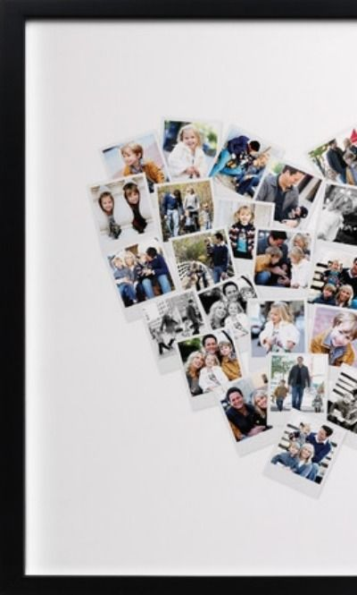 Share the love. This heart shaped photo collage is perfect to display wedding photos.