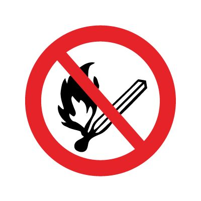 Rygning og åben ild forbudt - Køb forbudsskilte her