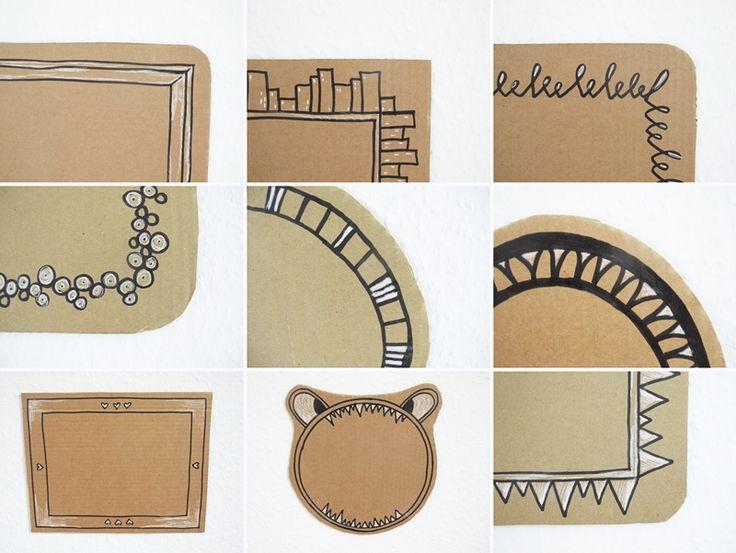 gezeichnete rahmen tapete upcycling diy edding marker. Black Bedroom Furniture Sets. Home Design Ideas
