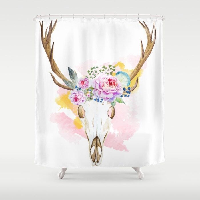 Shower Curtain. Deer Skull Curtain. White & Pastel Colors. Watercolor Curtains. Painted Shower Curtains. Bohemian Curtains. Boho Chic by AlokeCreativeStore on Etsy https://www.etsy.com/listing/250696499/shower-curtain-deer-skull-curtain-white
