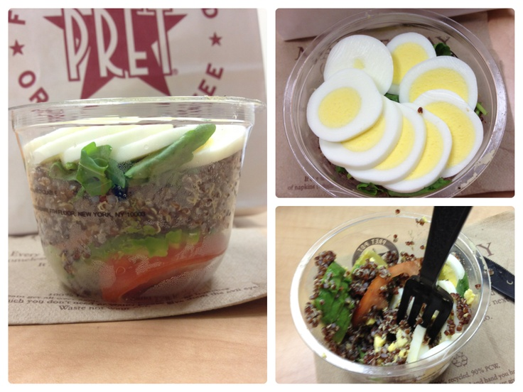 Pret A Manger's Protein Pot - good breakfast, must recreate: tomatoes, arugula, red quinoa, avocado, & egg