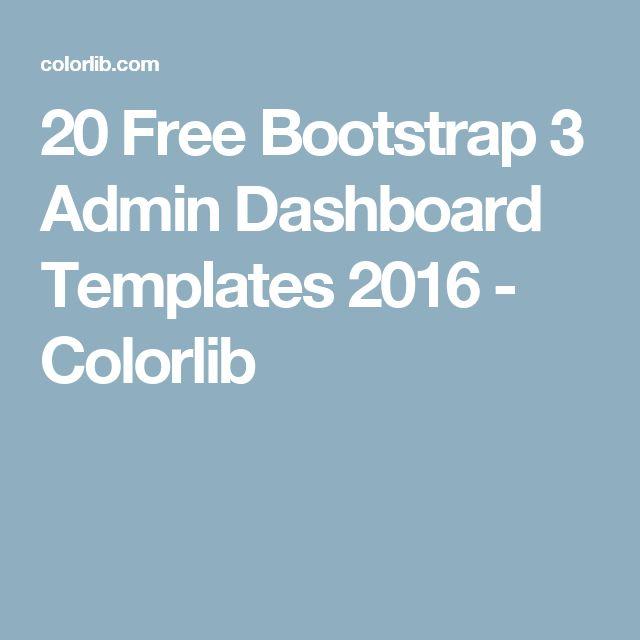 20 Free Bootstrap 3 Admin Dashboard Templates 2016 - Colorlib