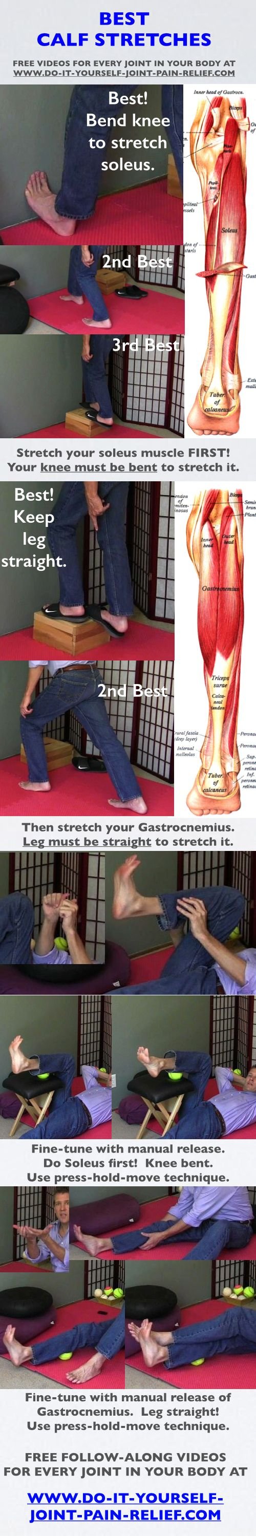"Best Calf Stretches -   Free follow-along videos and  free pain relief ""Cheat Sheet""..."