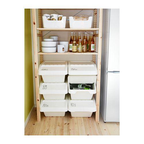 "SORTERA Recycling bin with lid - 10 gallon - IKEA. Stackable storage $9.99  15.24""w x 21.75""d x 11""h. 10 Gallon"