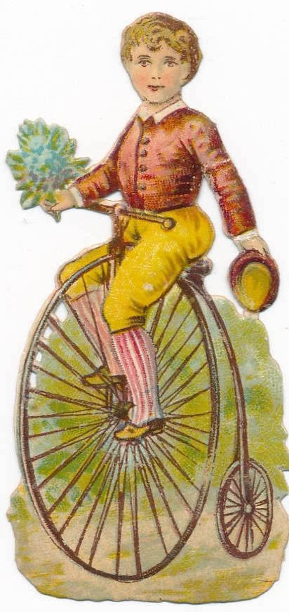 Very  Rare victorian DIE CUT 1890 s bike penny farthing bicycle AX