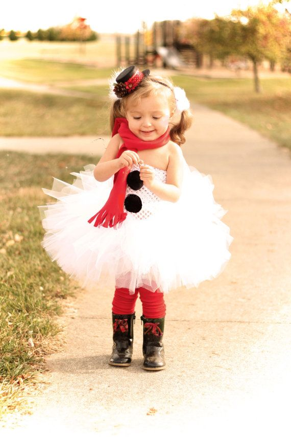 little girl in a tulle dress that looks like a snowman great