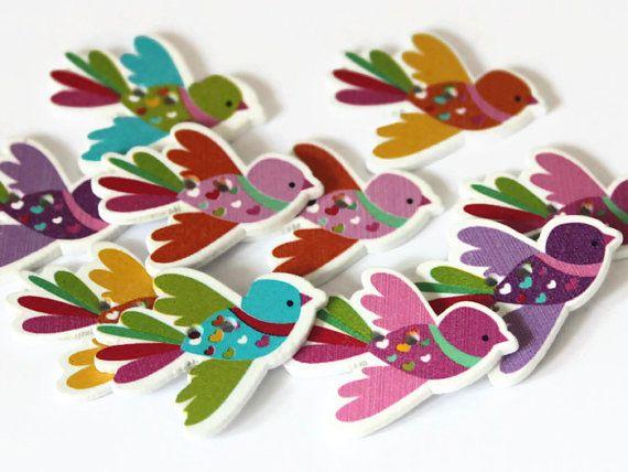 10 tasti di uccello  dipinti di uccelli  Bird di ButtonEnvyUk