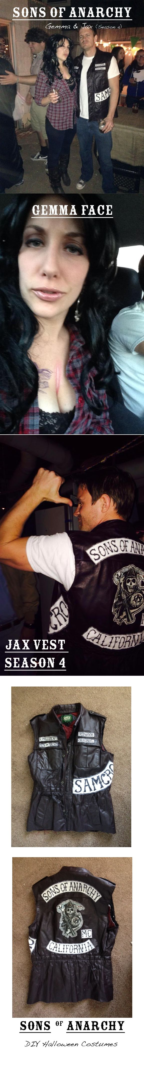 Sons of Anarchy Halloween Costume For Sale on Etsy: https://www.etsy.com/listing/204213252/sons-of-anarchy-mc-jax-season-4-cut