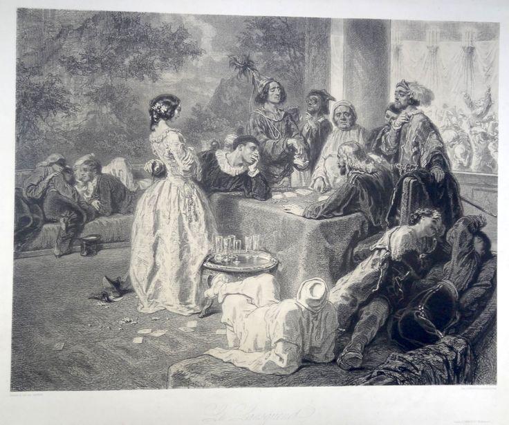 Le Lansquenet - série Nuits de Paris - dessin et lithographie par GAVARNI (1804-1866)
