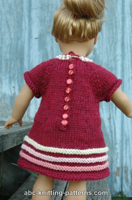 American Girl Doll Raglan Banded Dress: Free Dolls, Dolls Clothing, Dolls Knits, American Girl Dolls, Dolls Miscellani, Dolls Dresses, Ag Dolls, Dolls Raglan, American Girls Dolls