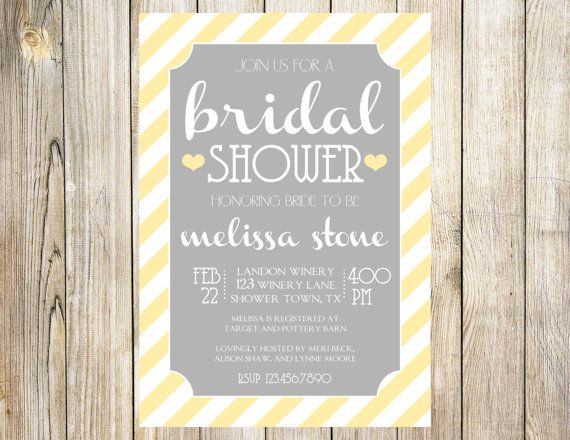 Hey, I found this really awesome Etsy listing at https://www.etsy.com/listing/176696147/gray-and-yellow-bridal-shower-invitation