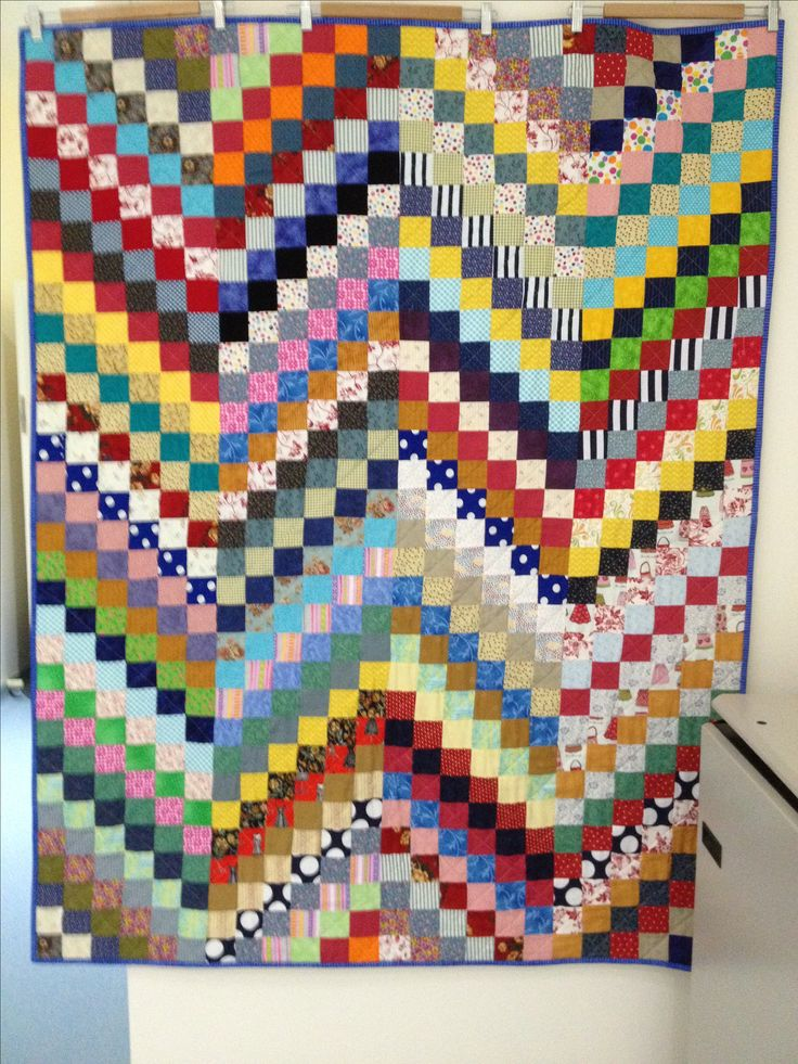 Scrap quilt, donated for Biggest Morning Tea. Money raised donated to Wimmera Cancer Centre